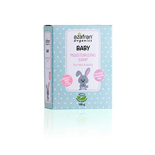 Azafran Organics Baby Moisturizing Soap, Gentle and mild, for Hair & Body, with Certified Organic Ingredients (ECOCERT)100 gm