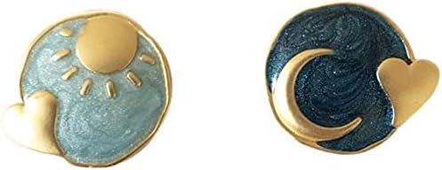 coadipress Asymmetrical Sun Moon Star Blue Stud Earrings for Women Girls Charm Cute Enamel Gold Plated Star Moon Earth Stud Earrings Jewelry for Sister Friends