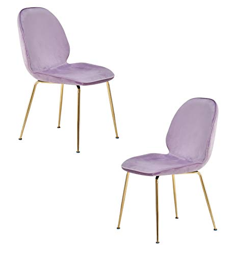 Best Master Furniture Tara Velvet Dining Chairs with Gold Plated Legs, Set of 2, Lavender