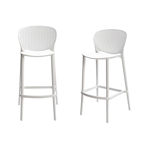 Amazon Basics White, Solid-Back Barstool-Set of 2, Premium Plastic
