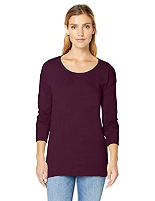 Amazon Essentials Women's Lightweight Scoopneck Tunic Sweater, Burgundy, Large by Amazon Essentials