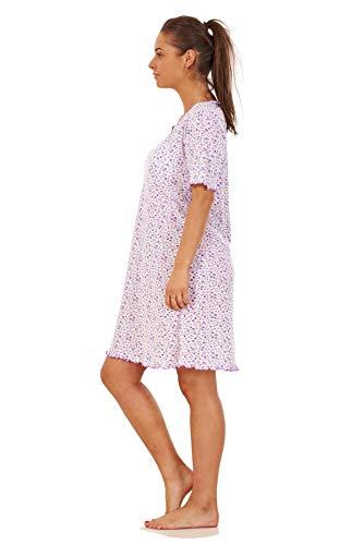 Apparel Ladies Girls Floral Short Nightdress 100% Cotton Short Sleeve Nightwear M to 3XL Lavender Black