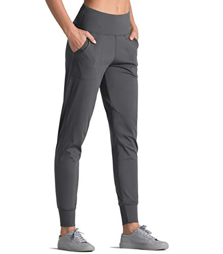 Dragon Fit Joggers for Women with Pockets,High Waist Workout Yoga Tapered Sweatpants Women's Lounge Pants (Joggers78-DarkGrey, Medium)