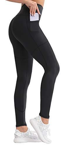 KVIONE High Waist Yoga Pants with 3 Pockets for Women Tummy Control Leggings Non See-Through 4 Ways Stretch Yoga Leggings Black M