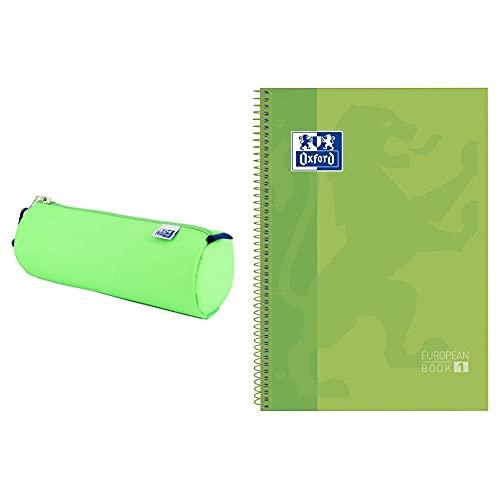 ESTUCHE OXFKIDS REDONDO + Oxford cuaderno Europeanbook 1, microperforado, tapa extradura, espiral, a4+ Verde