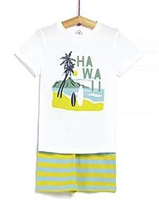 TEX - Pijama 2 Piezas Estampado para Niño, Blanco Neutro, 6-7 años