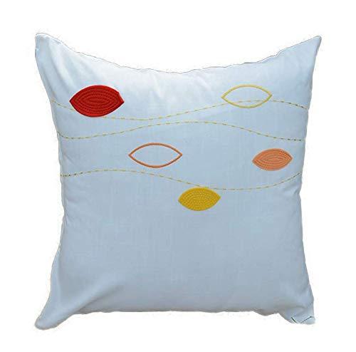 Fortana Kussensloop met bladermotief, voor sofakussen, sierkussen, applicatie, geborduurd, linnenlook, modern design, cadeau-idee ca. 50 x 50 cm wit-rood-geel