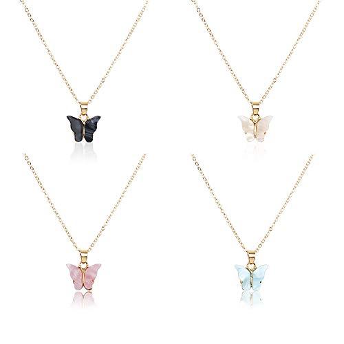Acrylic Butterfly Necklace Set, 4pc Adjustable Butterfly Chain, Cute Butterflies Necklace for Women Girls (4pc Butterfly Necklace Set)