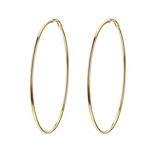 PROSTEEL Damen Creolen 100mm Groß Ring Kreis Ohrringe 18K vergoldet Simpel Stil Huggie Hoop Klappcreolen Ohrschmuck für Frauen Mädchen