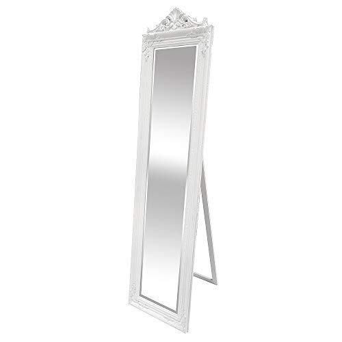 LEBENSwohnART Standspiegel XENAS 180x44cm Weiß Ankleidespiegel Ganzkörperspiegel Spiegel