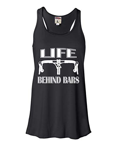 Go All Out Medium Black Womens Life Behind Bars Funny Bike Bicycle Funny Flowy Racerback Tank Top T-Shirt