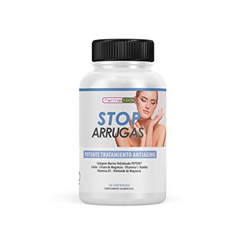 STOP ARRUGAS - Tratamiento antiarrugas a base de colágeno marino hidrolizado, ácido hialurónico, bambu, etc.. | Previene la aparición de arrugas | Piel hidratada, firme y más joven | 180 comprimidos