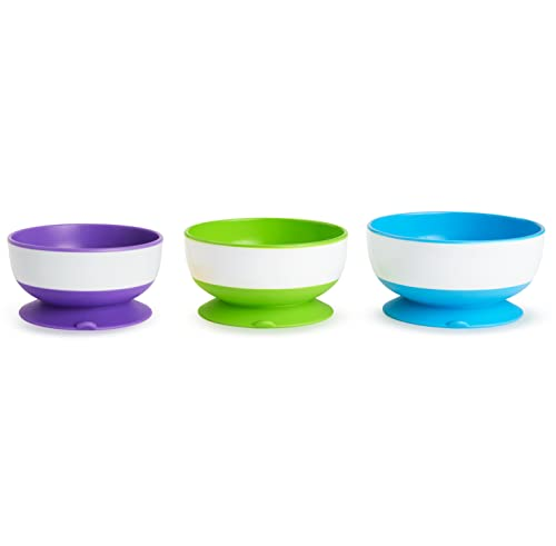 Munchkin Stay Put Suction Bowl,Purple, Green & Blue 3 Pack