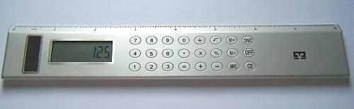 Verlag Lineal mit integriertem Taschenrechner, solarbetrieben, 20,3 cm, Aluminium-Optik