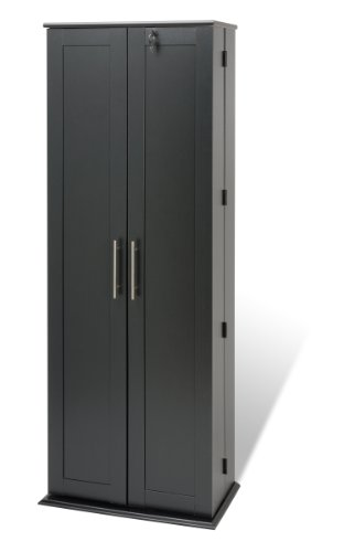 Prepac Grande Locking Media Storage Cabinet with Shaker Doors Storage Cabinet, Black