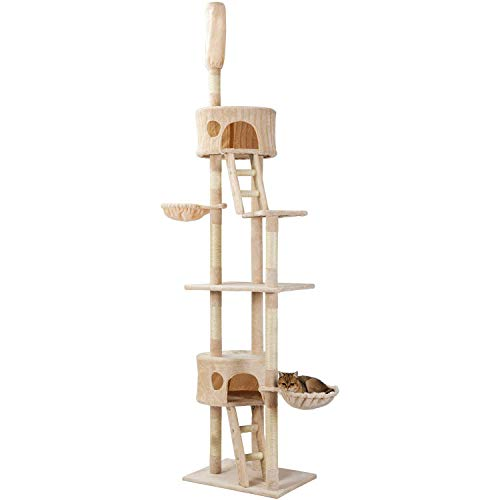 PURLOVE Kratzbaum XXL Sisal Robuster Kletterbaum Katzennapf mit Großem Spielplatz Höhe 240-260 cm (beige)