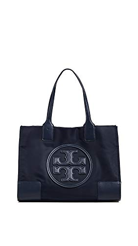Tory Burch Women's New Ella Mini Tote, Navy, Blue, One Size