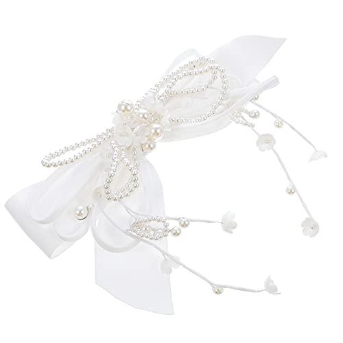 Beaupretty Boutique Clips de Lazo Cinta de Grogrén Clips de Cocodrilo para Niñas Perla Barrette Accesorios de Moda para El Cabello