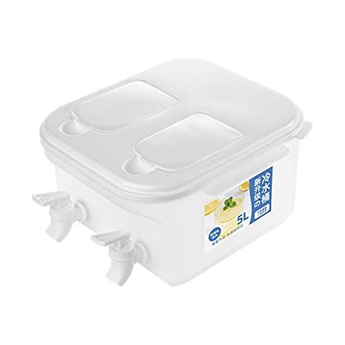Dispensador de bebidas de 5L con grifo, refrigerador de doble compartimento, hervidor de agua fría, tetera para frutas, cubo de agua helada, jarra de agua, dispensador de agua para nevera, sin BPA