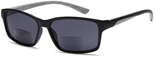 Newvision NV1133 - Gafas bifocales premontadas con lentes oscuras, 100% de protección contra los rayos UV, gafas de sol bifocales para hombre, cremallera de resorte, estilo deportivo +2.50 gris