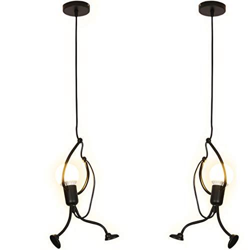 YOXANG Lustre LED Petite Personne Créatif Moderne Conception Lampe Pendentif Fil de Suspension Réglable Postuler à Salon Cuisine Chambre Éclairage Décoration Fer Noir 2×E27 40W (2S)