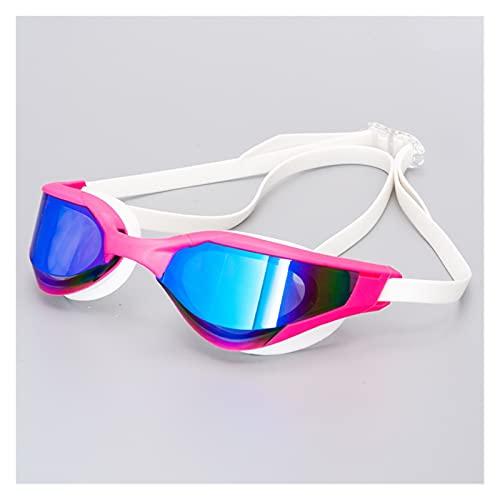 Gafas de natación Gafas de baño profesional con caja y reemplazo Puente de la nariz anti-niebla UV Gafas de agua Silicon Gafas de natación para hombres mujeres proteger ( Color : Mirrored rose )