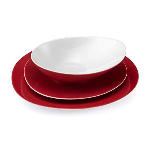 Medard de Noblat MI40CCB000S18 Sven - Vajilla (18 piezas), color rojo