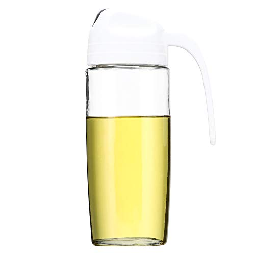 Baomasir Oliedispenser, auto flip olijfolie glazen fles, lekvrij kruidenreservoir met automatische deksel 500 ml wit