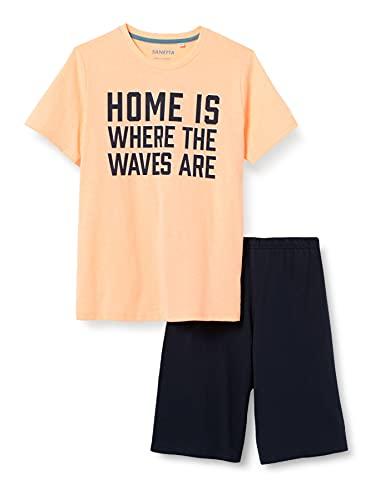 Sanetta Jungen Schlafanzug kurz rosa Pyjamaset, neon Melon, 176