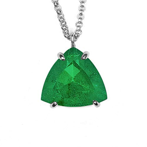 JewelryGift Natural Emerald Pendant with Chain Trillion Faceted Gemstone Green 925 Sterling-silver Unique jewelry Necklace for Mother