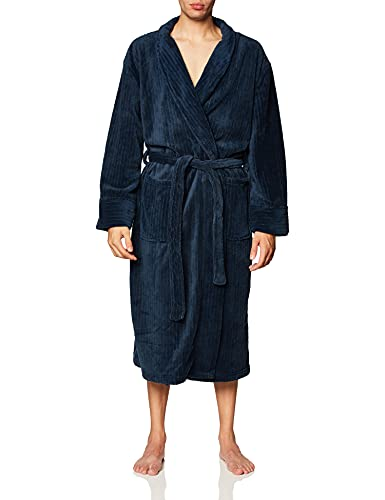 Hanes Men's Soft Touch Cozy Fleece Robe, Navy, One...