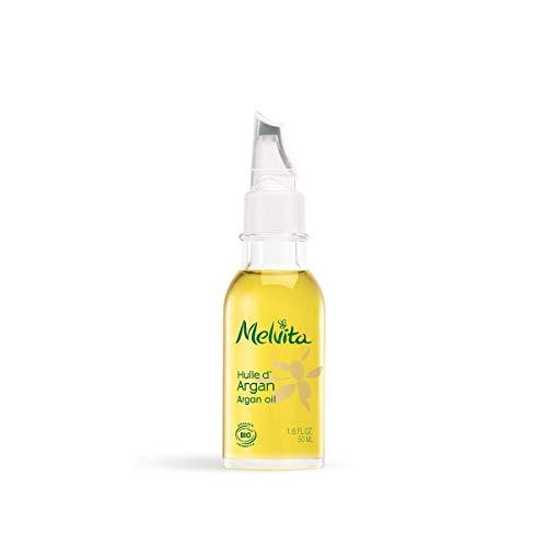 Melvita - Huile d'Argan Bio - Soin Visage, Corps et Cheveux - Nourrit, Protège et Raffermit - Ralentissement du Vieillissement - 100% Naturel, Vegan - Flacon avec Applicateur Précision 50 ml