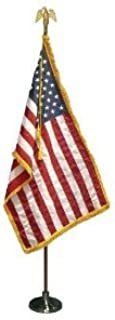 WINDSTRONG 7 FT Presidential Deluxe U.S. Indoor Flag Pole Set with 3x5 FT Gold Fringed Nylon Flag, Embroidered Stars Sewn Stripes, Gold Eagle, Gold Weighted Base, Premium Oak Pole and Tassel