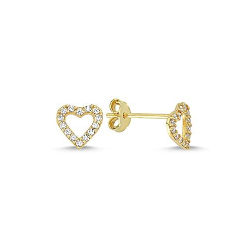 Pendientes de oro de 14 k (585) con forma de corazón