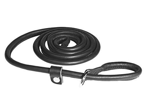 PET FIRST runde Lederleine | Hochwertige Leder Hundeleine | Handgefertigt in Europa Hundeleine aus Leder - Länge 180 cm - Schwarz