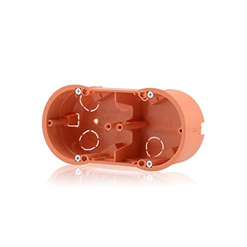 Caja de conexión doble para empotrar (orificio fresado, diámetro de 68 mm, altura de 46 mm, color naranja, IP30, 650 °C, incluye tornillos)