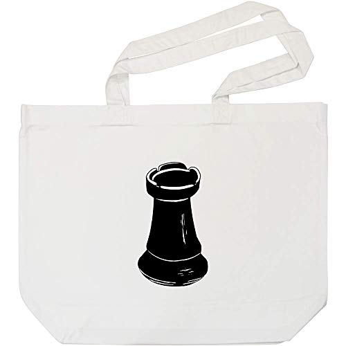 Azeeda 'Turm Schachfigur' Weiße Einkaufstasche (BG00055734)