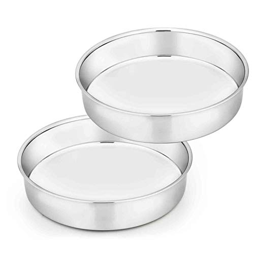 TeamFar Cake Pan Set of 2, 8 Inch Cake Pan Round Tier Cake Pan Set Stainless Steel , Healthy & Heavy Duty, Mirror Finish & Easy Clean, Dishwasher Safe