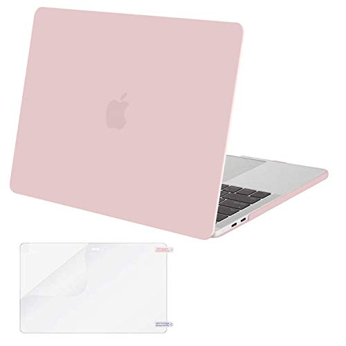 MOSISO MacBook Pro 15 inch Case 2019 2018 2017 2016 Release A1990 A1707, Plastic Hard Shell Case Cover & Screen Protector Compatible with MacBook Pro 15 inch with Touch Bar, Rose Quartz