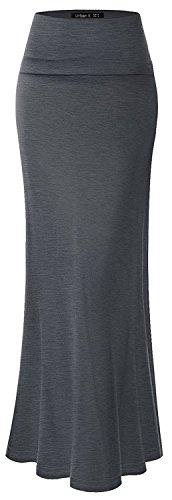 URBAN K Womens Basic Foldable High Waist Regular and Plus Size Maxi Skirts,Ubk516_charcoal,Large