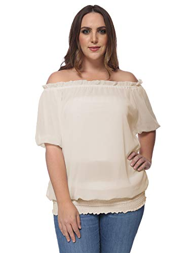 ANNA-KACI Plus Size Gypsy Bohemian Chic uit de schouder gerookte taille Casual Blouse Top