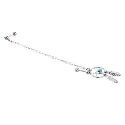 Fltaheroo Perforacinon de Oreja de Puno de Estrella Pendiente colgado de Cartilago Aretes - Azul