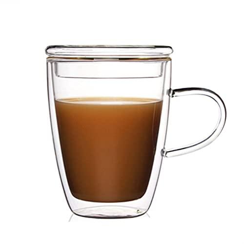 Tazas de café de cristal, juego de tazas aisladas de doble pared con asa, perfecto para latte, americano, capuchinos, bolsa de té, bebidas, taza de café reutilizable