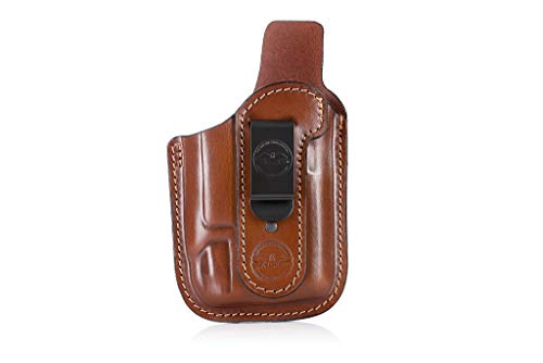 Pancake Style IWB Leather Holster for Guns with Light / Falco A118 Hyena Brown/ for S&W M&P Shield - Glock 17 19 22 23 32 33 / Springfield /Ruger /Sig Sauer /Taurus /Plus All Similar Sized Handguns