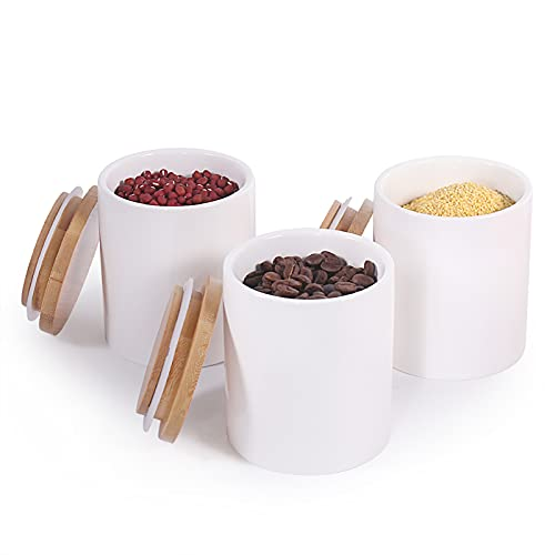 77L Food Storage Jar - (Set of 3) Ceramic Food Storage Jar with Airtight Bamboo Lid, Modern White Kitchen Food Storage Canister for Serving Coffee, Spice, Tea and More, 10.13 FL OZ (300 ML)