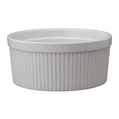 HIC Souffle, Fine White Porcelain, 8 , 64 oz, 2 quart Capacity