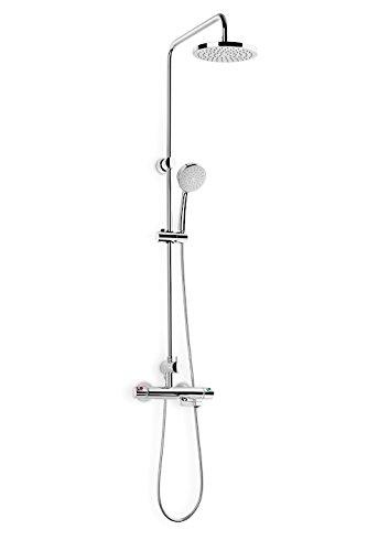 Roca A5A2718C00 Victoria - Columna termostática para baño y ducha con caño inferior retráctil, Griferias hidrosanitarias termostaticas
