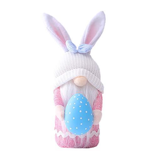 BIBOKAOKE Muñeca de conejo de Pascua sin cara, muñeca de Pascua, hecha a mano, juguete de peluche para niños, decoración de huevos de Pascua, adornos de peluche, gnomo, decoración principal de fiesta