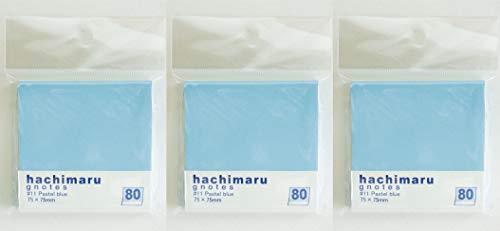 プリントインフォームジャパン gnotes 全体の80%にのり!! ラベルのようなふせん 「hachimaru」75x75mm 【3個セット】 (パステルブルー)
