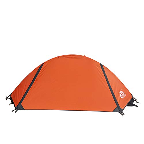 camppal 1 Person Tent Backpacking Camping Hiking Mountain Hunting Tent Lightweight and Waterproof for 4 Season Extreme Space Saving Single Bracket (Orange)